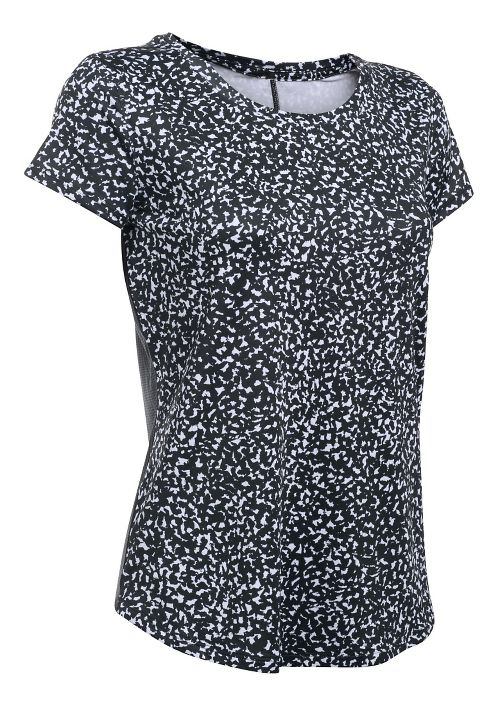 Womens Under Armour Fly By Printed Short Sleeve Technical Tops - Black/White S