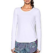 Womens Under Armour Fly By Solid Long Sleeve Technical Tops - White M