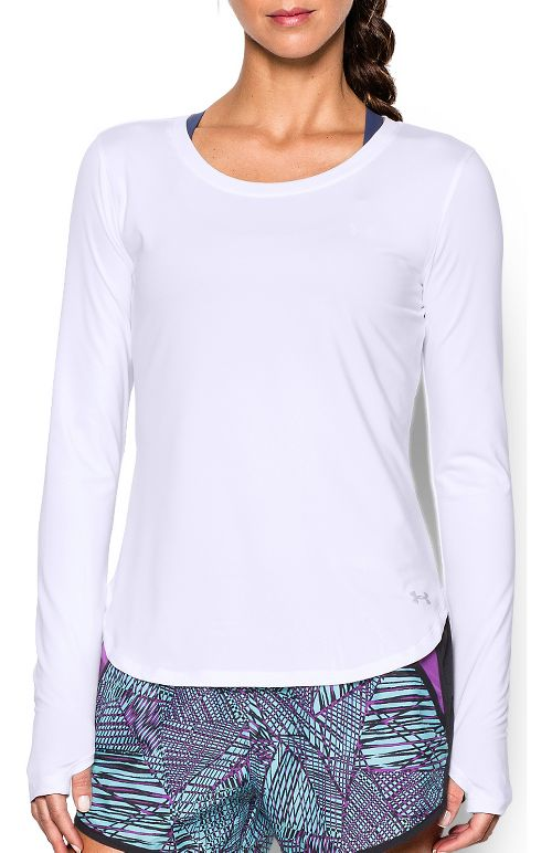 Womens Under Armour Fly By Solid Long Sleeve Technical Tops - White XL