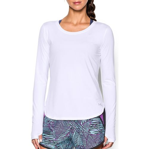 Womens Under Armour Fly By Solid Long Sleeve Technical Tops - White L