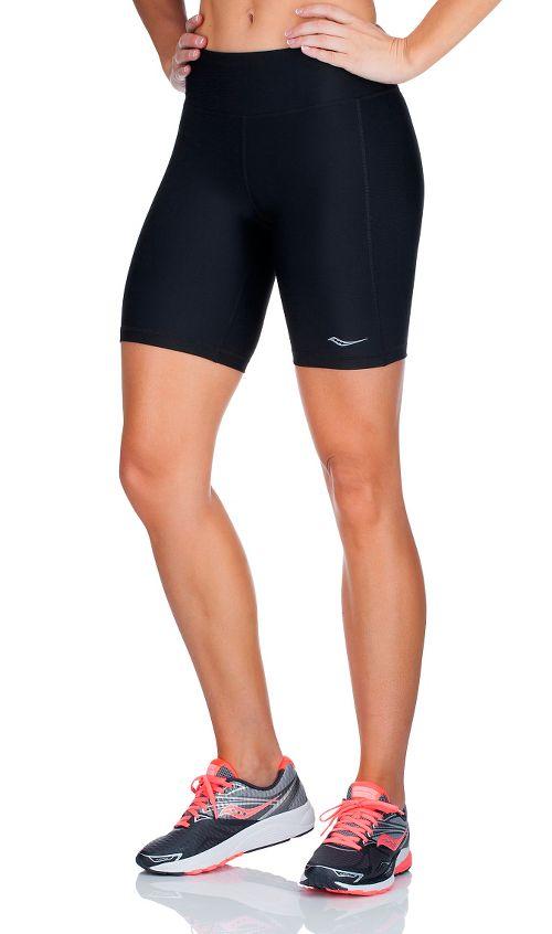 Womens Saucony Scoot Tight Unlined Shorts - Black/Black L