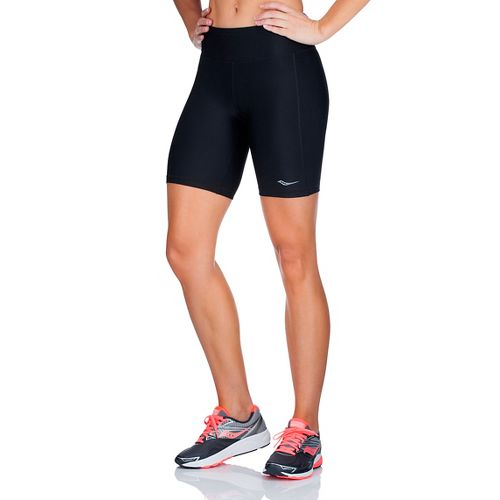 Womens Saucony Scoot Tight 8 Unlined Shorts - Black/Black XL