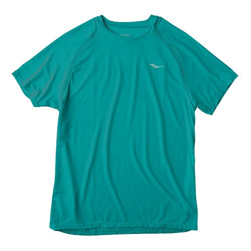 Mens Saucony Freedom Short Sleeve Technical Tops - Electric Teal M