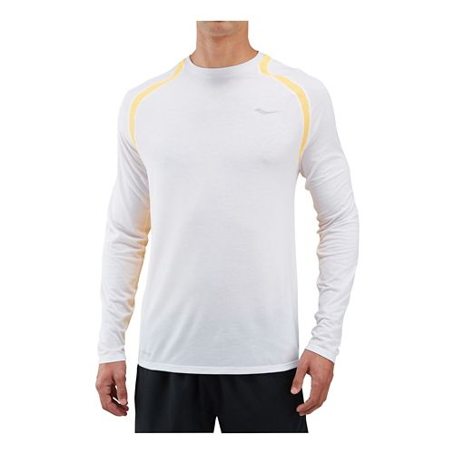 Mens Saucony Freedom Long Sleeve Technical Tops - Dark Grey Heather M