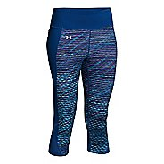 Womens Under Armour Fly By Printed Run Capris Pants - Sky Blue/Cobalt M