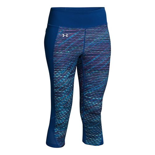 Womens Under Armour Fly By Printed Run Capris Pants - Sky Blue/Cobalt S