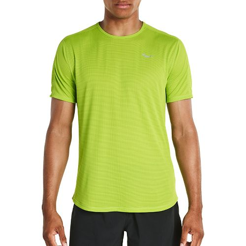 Mens Saucony Hydralite Short Sleeve Technical Tops - Chartreuse M