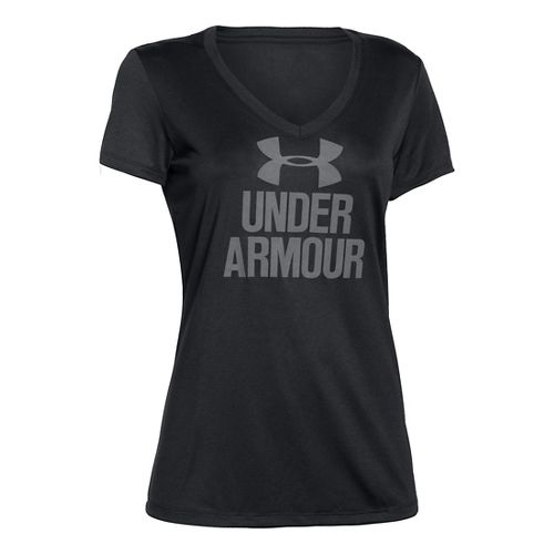Womens Under Armour Graphic Tech V-Neck Short Sleeve Technical Tops - Black XL
