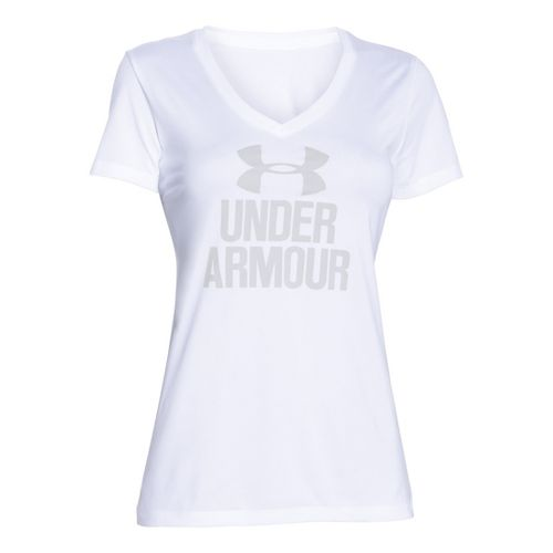 Womens Under Armour Graphic Tech V-Neck Short Sleeve Technical Tops - White M