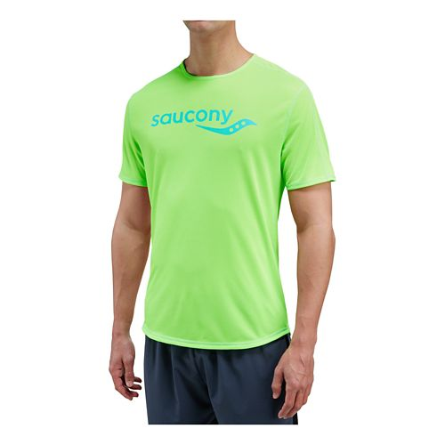 Mens Saucony Saucony Short Sleeve Technical Tops - VIZiPRO Slime M