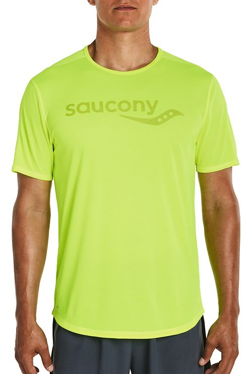 Mens Saucony Short Sleeve Technical Tops - VIZiPRO Citron XXL