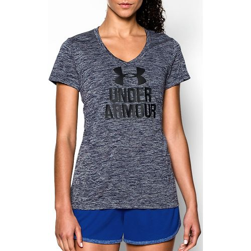 Womens Under Armour Graphic Twist Tech V-Neck Short Sleeve Technical Tops - Elemental S