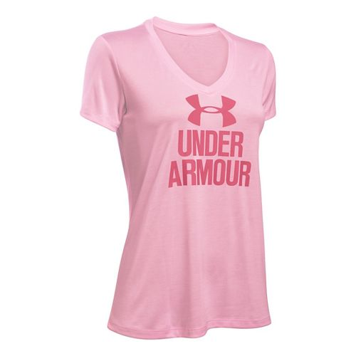 Womens Under Armour Graphic Twist Tech V-Neck Short Sleeve Technical Tops - Petal Pink XS