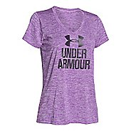 Womens Under Armour Graphic Twist Tech V-Neck Short Sleeve Technical Tops
