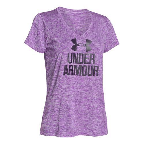 Womens Under Armour Graphic Twist Tech V-Neck Short Sleeve Technical Tops - Mega Magenta S ...