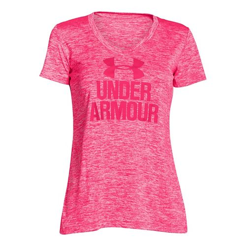Womens Under Armour Graphic Twist Tech V-Neck Short Sleeve Technical Tops - Harmony Red M