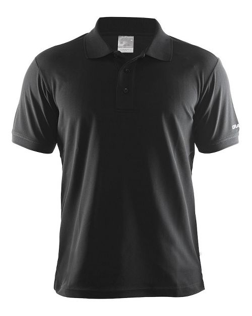 Mens Craft Polo Shirt Pique Classic Short Sleeve Technical Tops - Black L