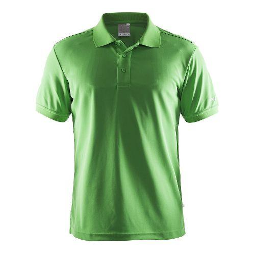 Mens Craft Polo Shirt Pique Classic Short Sleeve Technical Tops - Craft Green XL