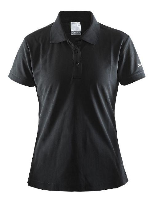 Womens Craft Polo Shirt Pique Classic Short Sleeve Technical Tops - Black XS