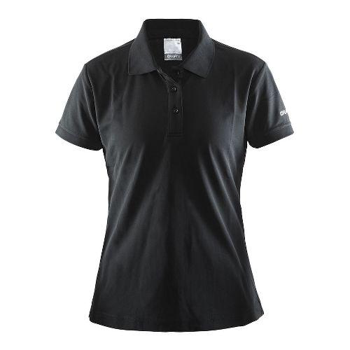 Womens Craft Polo Shirt Pique Classic Short Sleeve Technical Tops - Black M