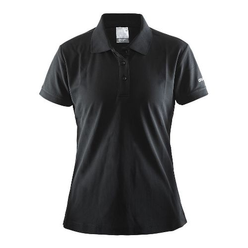 Womens Craft Polo Shirt Pique Classic Short Sleeve Technical Tops - Black XL