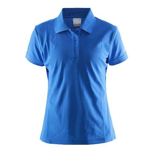 Womens Craft Polo Shirt Pique Classic Short Sleeve Technical Tops - Blue/Grey XXL