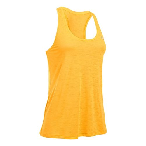 Womens Under Armour Slub Tech Sleeveless & Tank Technical Tops - Yuzu Orange S