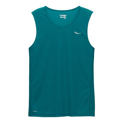 Mens Saucony Hydralite Sleeveless & Tank Technical Tops - Rainforest L