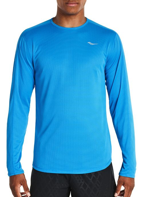 Mens Saucony Hydralite Long Sleeve Technical Tops - Brilliant Blue L