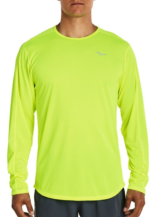 Mens Saucony Hydralite Long Sleeve Technical Tops - VIZiPRO Citron L