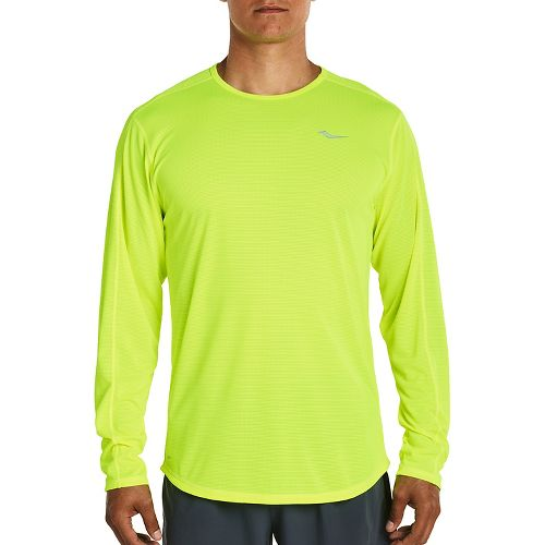 Mens Saucony Hydralite Long Sleeve Technical Tops - VIZiPRO Citron XXL