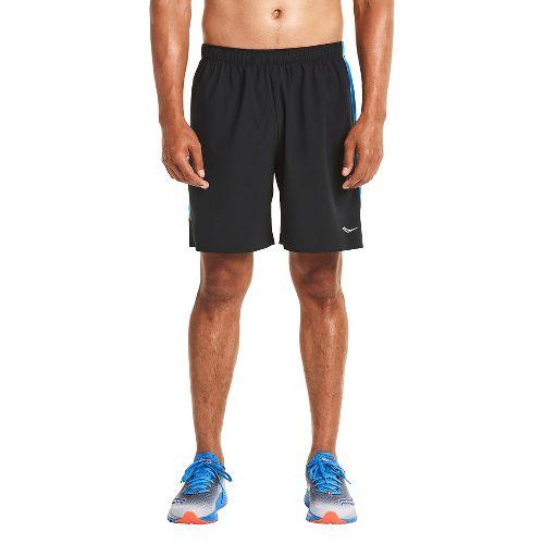 Mens Saucony Run Lux Lined Shorts - Black/Blue XXL