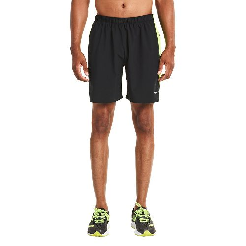 Mens Saucony Run Lux Lined Shorts - Black/Citron L