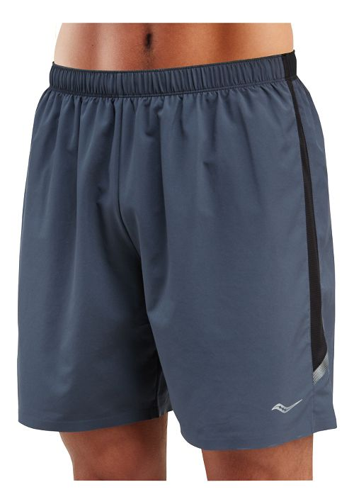 Mens Saucony Run Lux Lined Shorts - Carbon L