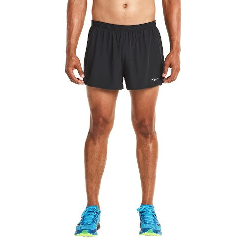 Mens Saucony Endorphin Splits Shorts - Black/VIZiPRO XXL