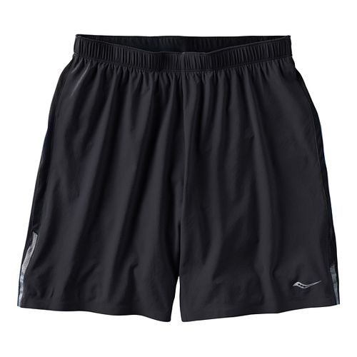 Mens Saucony Interval 2-in-1 Shorts - Black/Black M