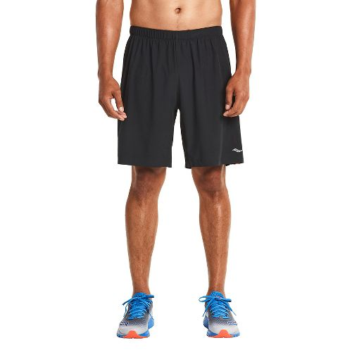 Mens Saucony Interval 2-in-1 Shorts - Black/Blue XXL