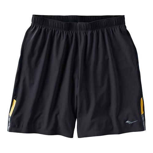 Mens Saucony Interval 2-in-1 Shorts - Black/Zest S