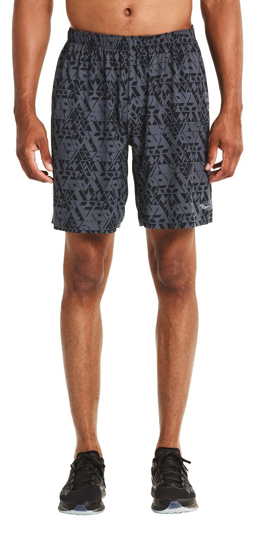 Mens Saucony Interval 2-in-1 Shorts - Carbon L