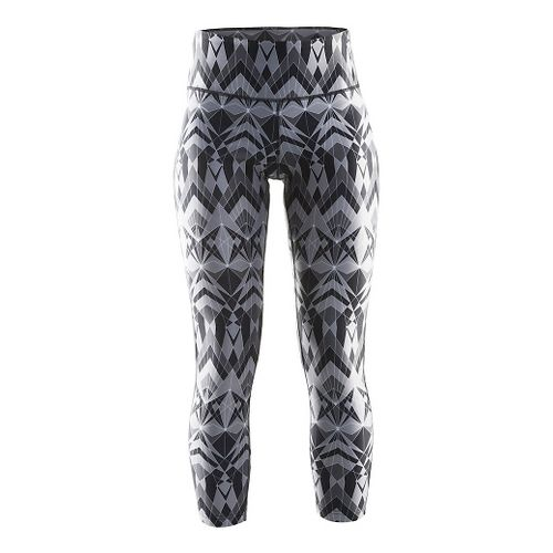 Womens Craft Pure Print Tights & Leggings Pants - Geo Black/Silver L