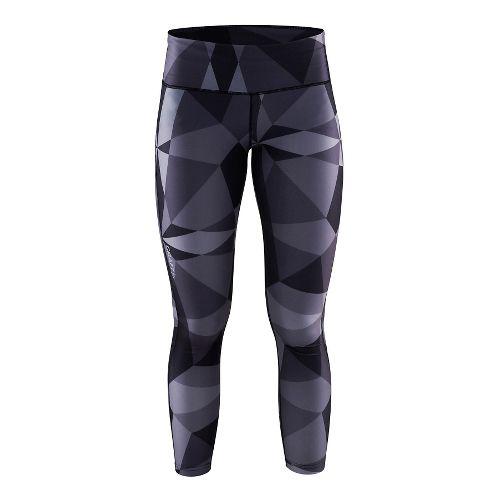 Womens Craft Pure Print Tights & Leggings Pants - Geo Black/Silver XXL