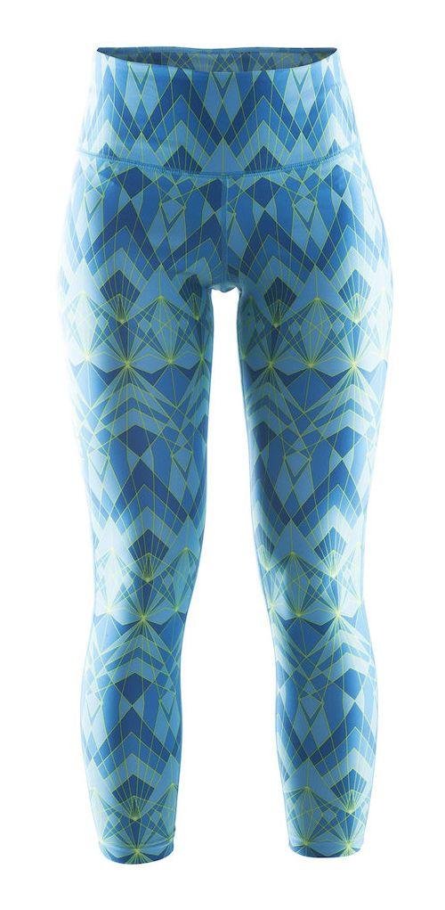 Womens Craft Pure Print Tights & Leggings Pants - Blue/Grey L