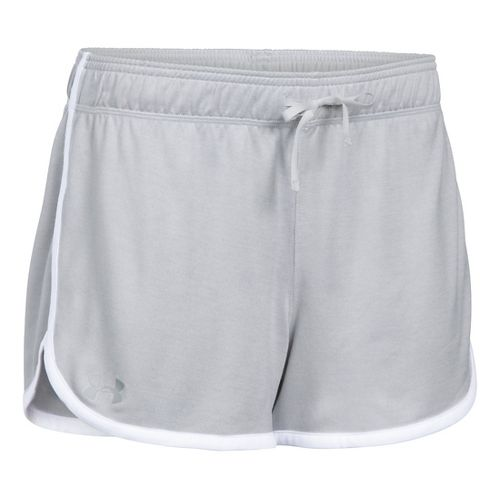 Womens Under Armour Twist Tech Lined Shorts - Glacier Grey/White L