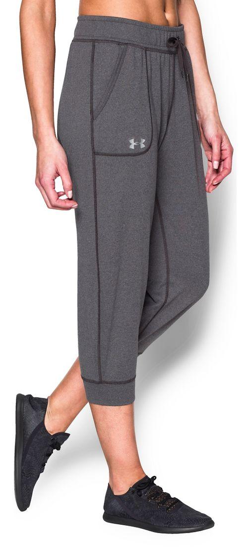 Womens Under Armour Tech Capris Pants - Carbon Heather L