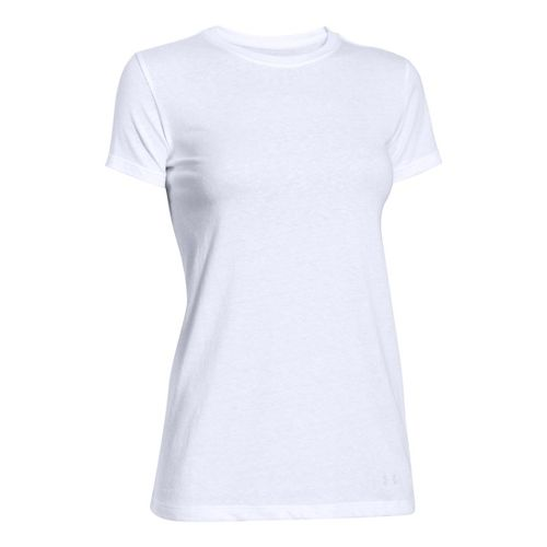 Womens Under Armour Favorite Crew Short Sleeve Technical Tops - White XL