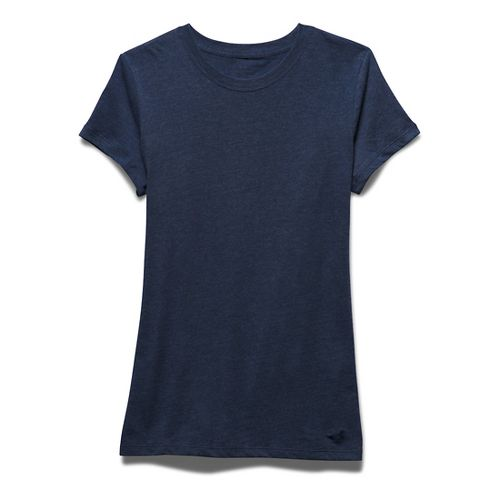 Womens Under Armour Favorite Crew Short Sleeve Technical Tops - Navy Seal M