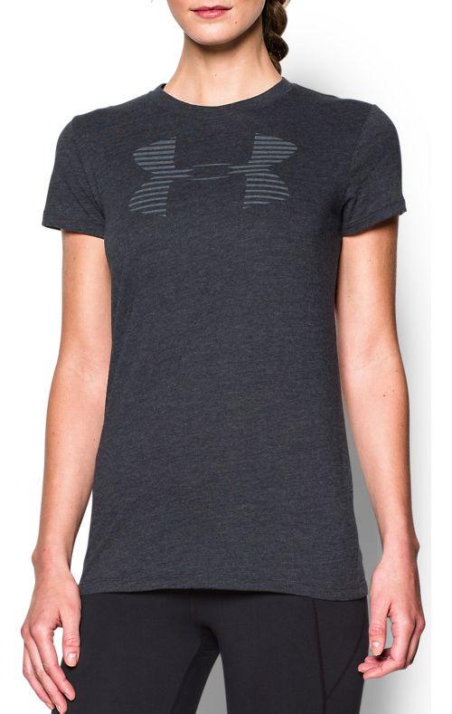 Womens Under Armour Favorite Big Logo Crew Short Sleeve Technical Tops - Black/Graphite XL