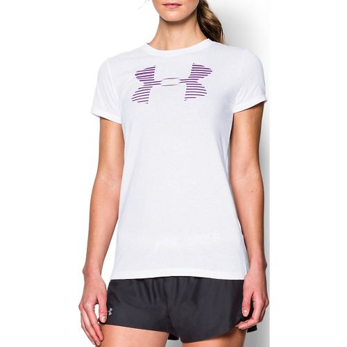 Womens Under Armour Favorite Big Logo Crew Short Sleeve Technical Tops - White/Magenta M