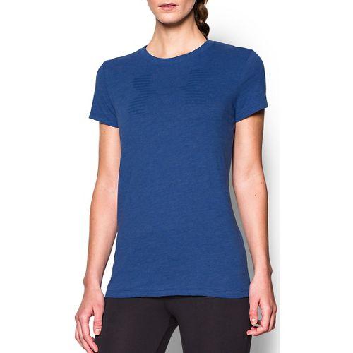 Womens Under Armour Favorite Big Logo Crew Short Sleeve Technical Tops - Cobalt L