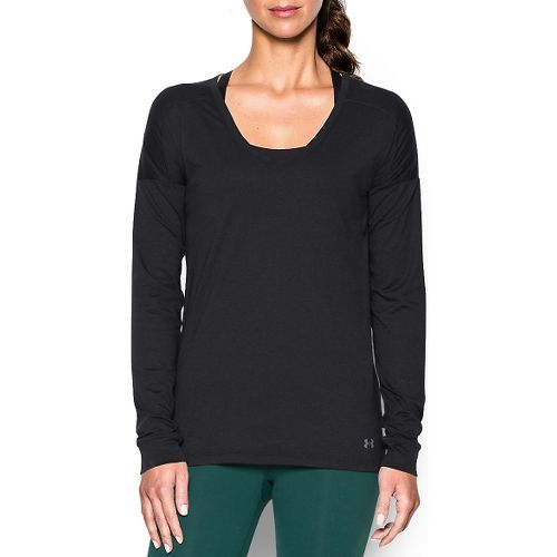 Womens Under Armour Favorite Collegiate Long Sleeve Technical Tops - Black XS